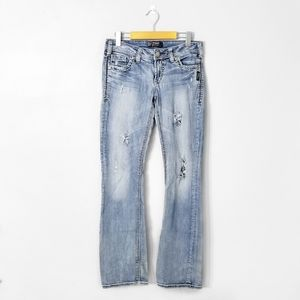 SILVER Jeans Low Rise Distressed Aiko Bootcut